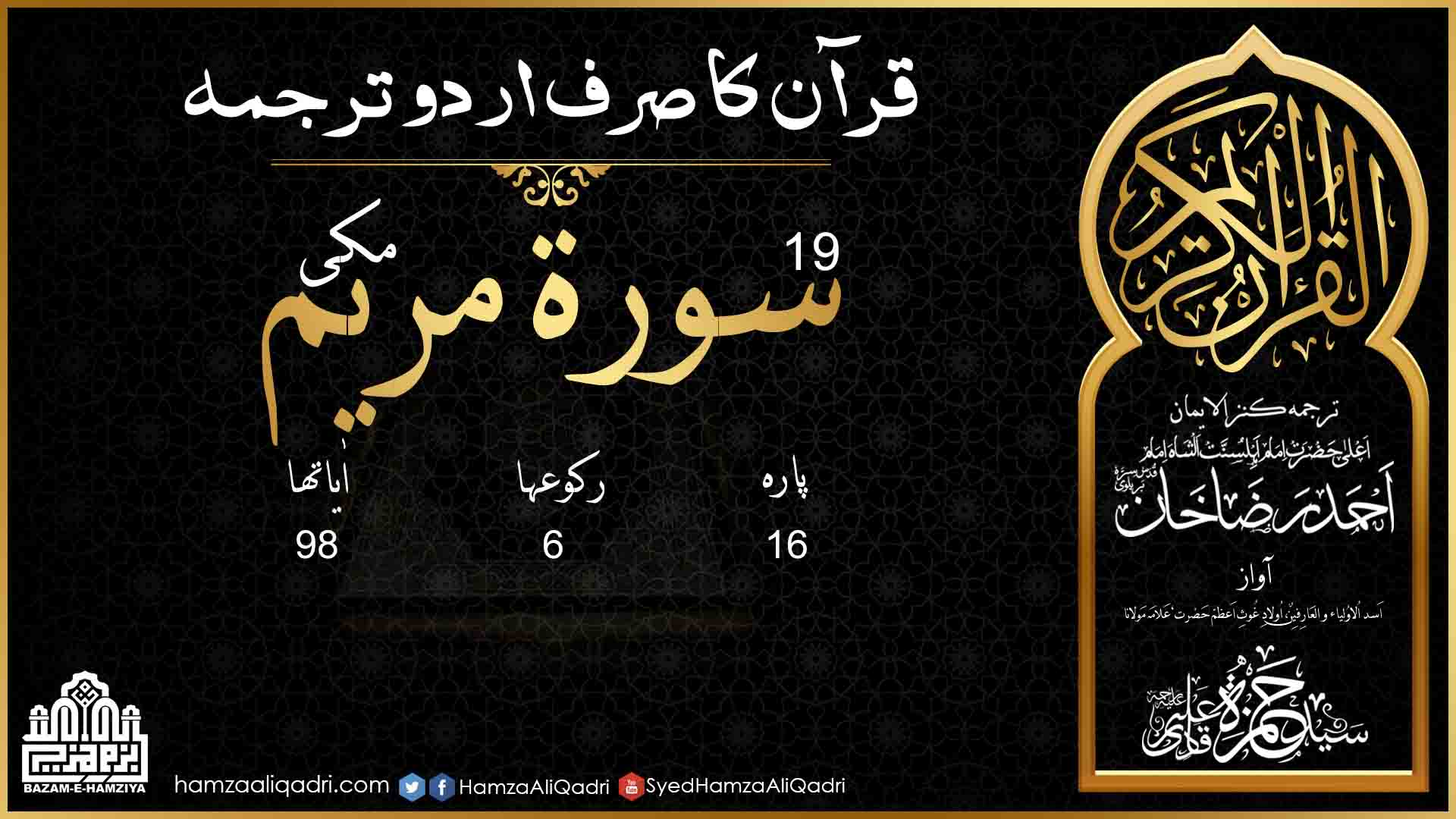 19 Surah Maryam Only Urdu Translation (Complete) - Hazrat Allama